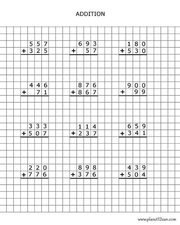 addition graph paper